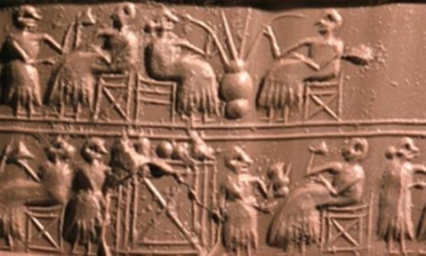 An old Mesopotamian clay tablet shows people drinking beer through straws.