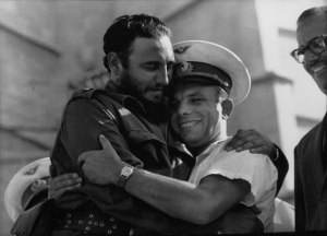 The Cuban leader Fidel Castro embraces Russian national hero Yuri Gagarin.