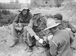 Soldiers from New Zealand receive their daily rum ration in World War I.