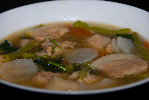 Sinigang na baboy, a sour pork soup from the Philippines that cures hangovers.