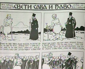A cartoon of the story of Saint Sava and the Devil.