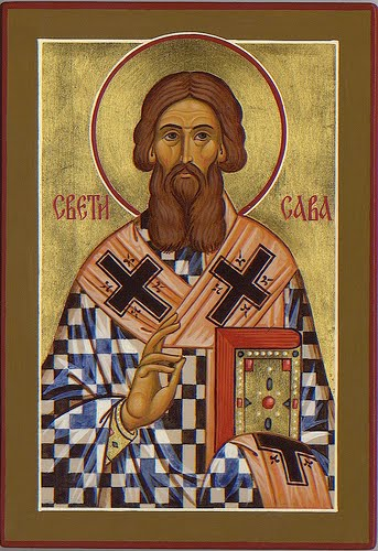 An Orthodox Christian icon of Saint Sava of Serbia.